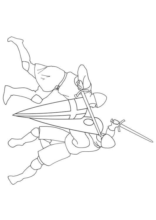 Malvorlage Schwertkampf Ausmalbild 10638