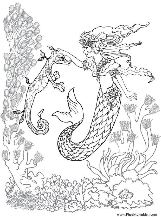 Malvorlage Seejungsfrau mit Seepferdchen - Kostenlose