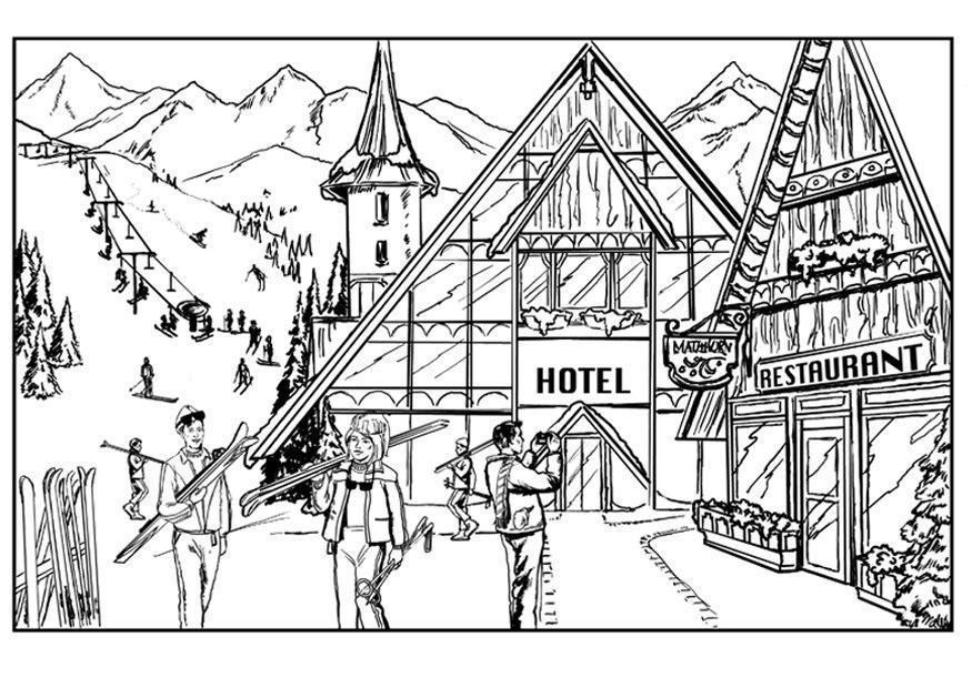 Malvorlage Skifahren - Chalet Ausmalbild 7561
