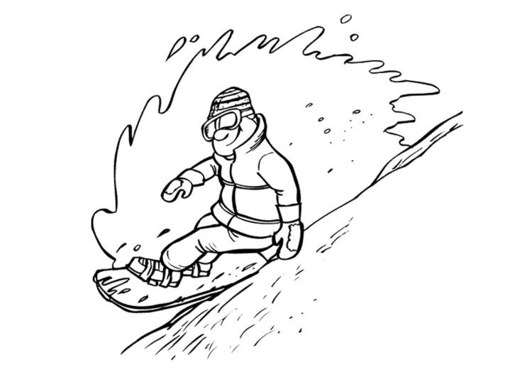 Malvorlage Snowboarden - Kostenlose Ausmalbilder Zum