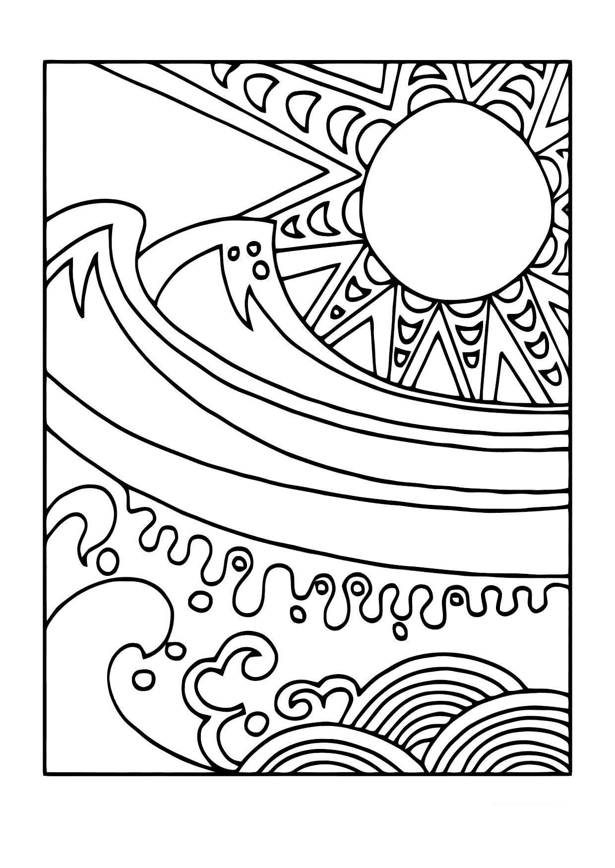 Malvorlage Sonne und Meer Ausmalbild 11440