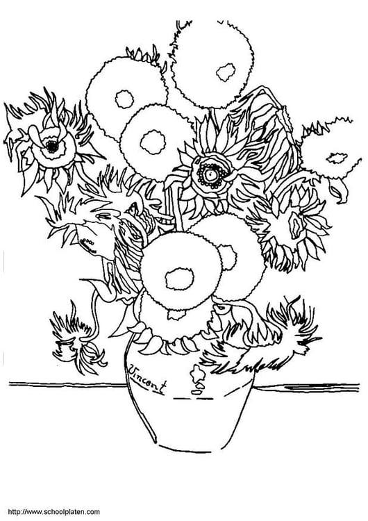 Malvorlage Sonnenblumen - Kostenlose Ausmalbilder Zum