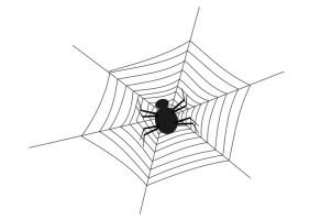 Malvorlage Spinnennetz mit Spinne   Ausmalbild 19693.