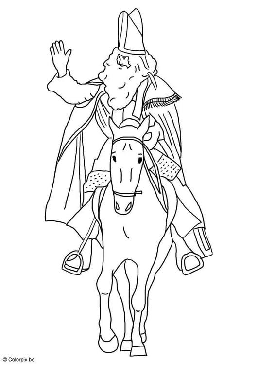 Malvorlage St Nikolaus mit seinem Pferd - Kostenlose