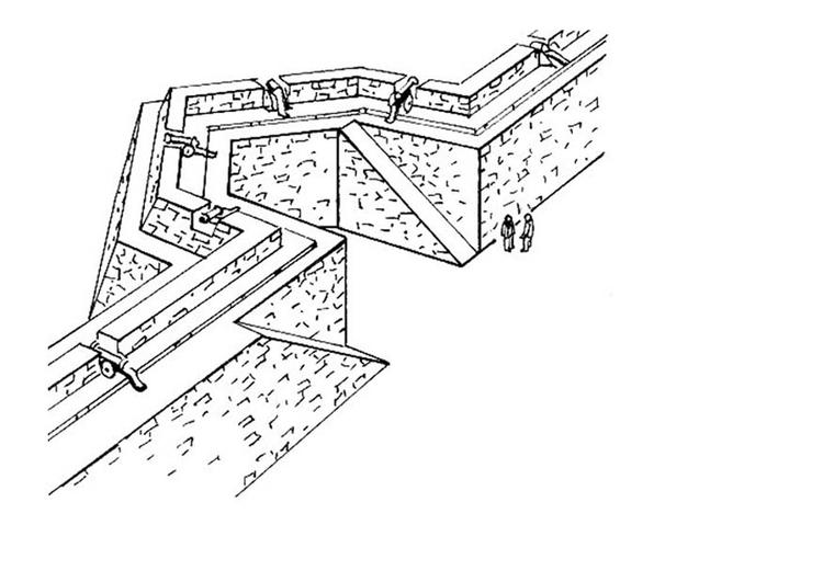 Malvorlage Stadtmauer - Burg - Kostenlose Ausmalbilder Zum