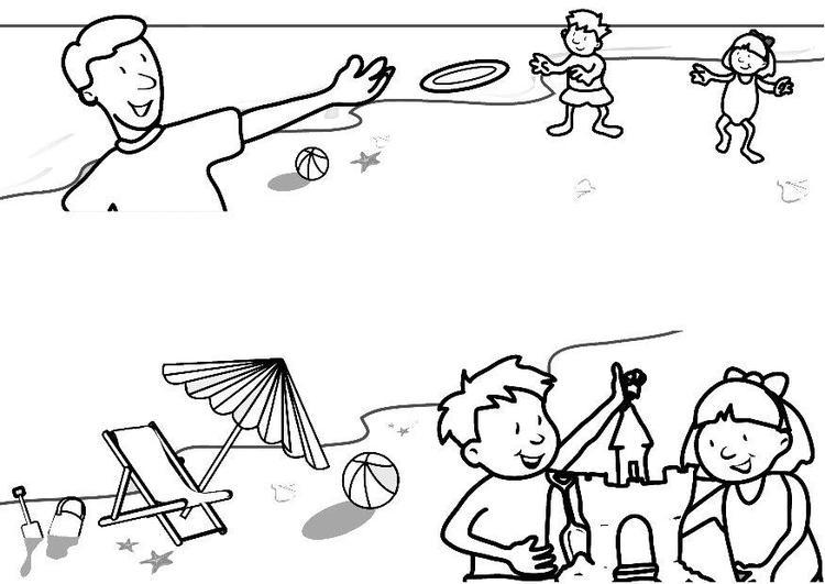 Malvorlage Strand - Ferien - Kostenlose Ausmalbilder Zum
