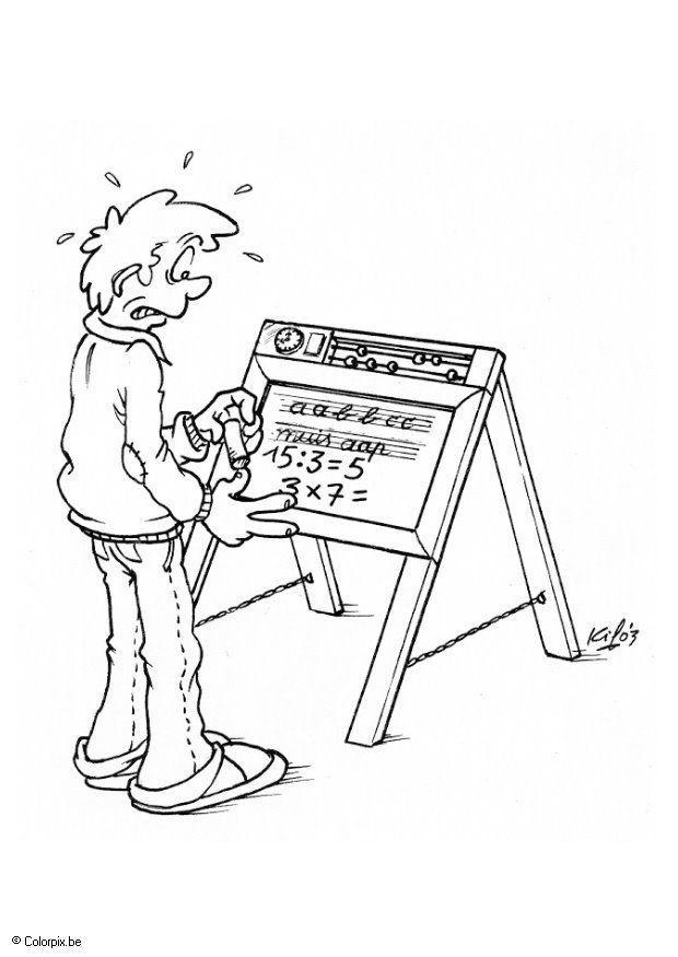 Malvorlage Tafel mit Buchstaben und Ziffern - Kostenlose