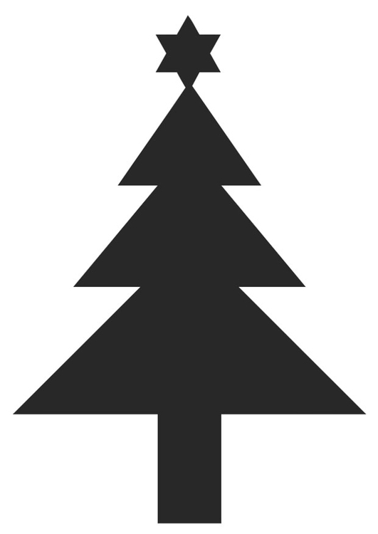 Malvorlage Tannenbaum mit Weihnachtsstern - Kostenlose