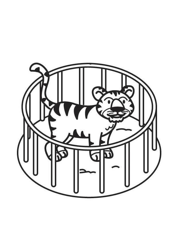 Malvorlage Tiger im Käfig - Kostenlose Ausmalbilder Zum