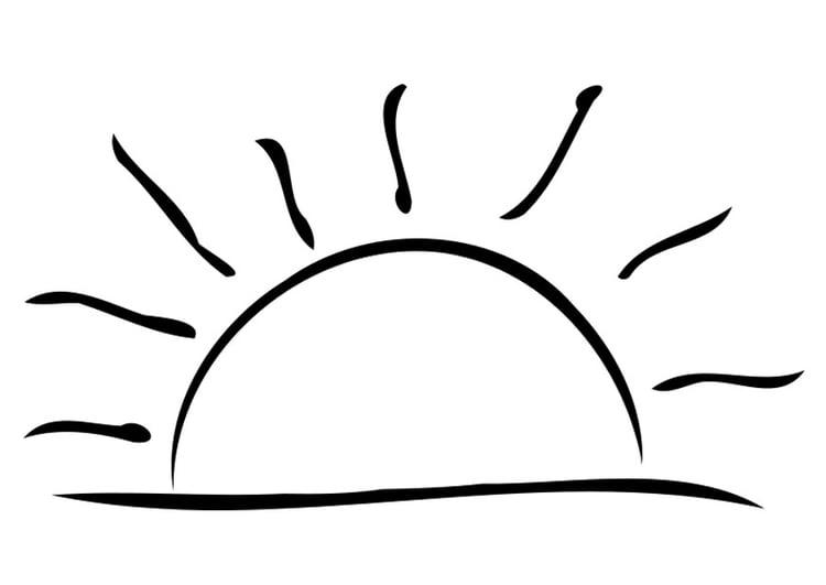 Malvorlage untergehende Sonne - Kostenlose Ausmalbilder
