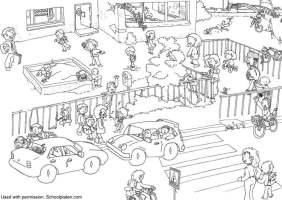 Malvorlage Verkehr an der Schule   Kostenlose Ausmalbilder ...