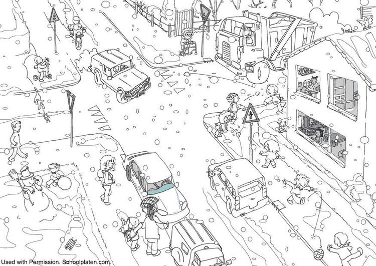 Malvorlage Verkehr im Winter - Kostenlose Ausmalbilder Zum
