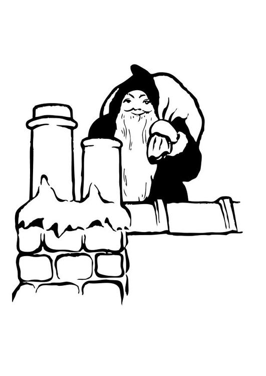 Malvorlage Weihnachtsmann auf dem Dach - Kostenlose