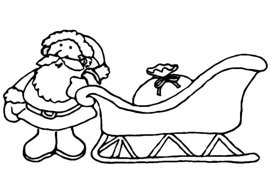 Malvorlage Weihnachtsmann mit Schlitten - Kostenlose