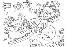 Malvorlage Weihnachtsmann und Schlitten   Kostenlose ...