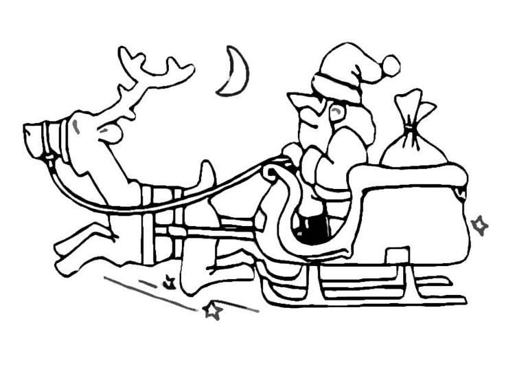 Malvorlage Weihnachtsmann und Schlitten - Kostenlose