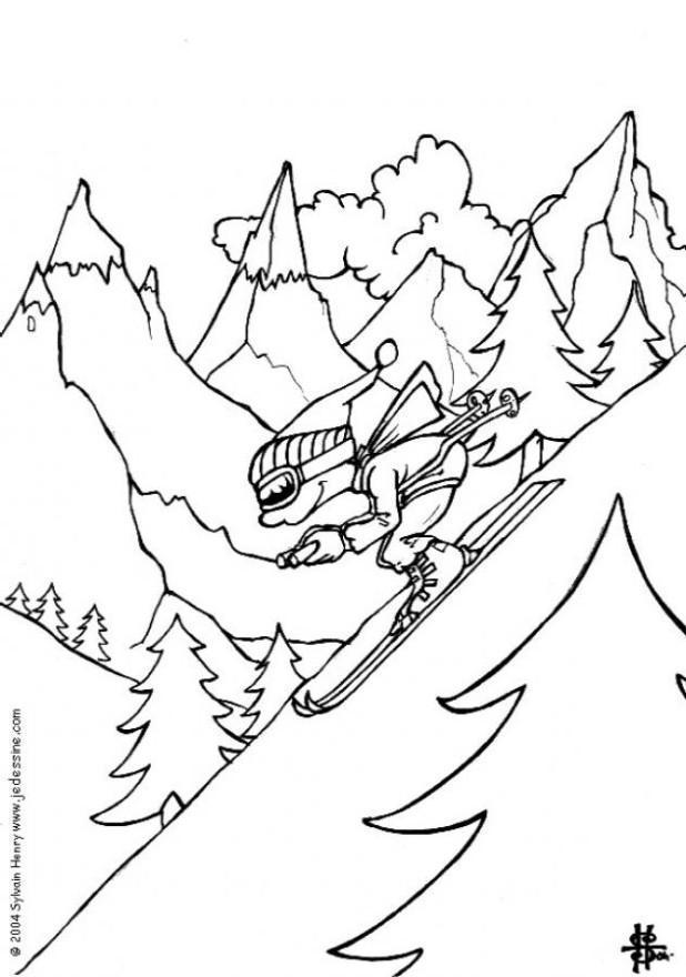 Malvorlage Winter Ski - Kostenlose Ausmalbilder Zum