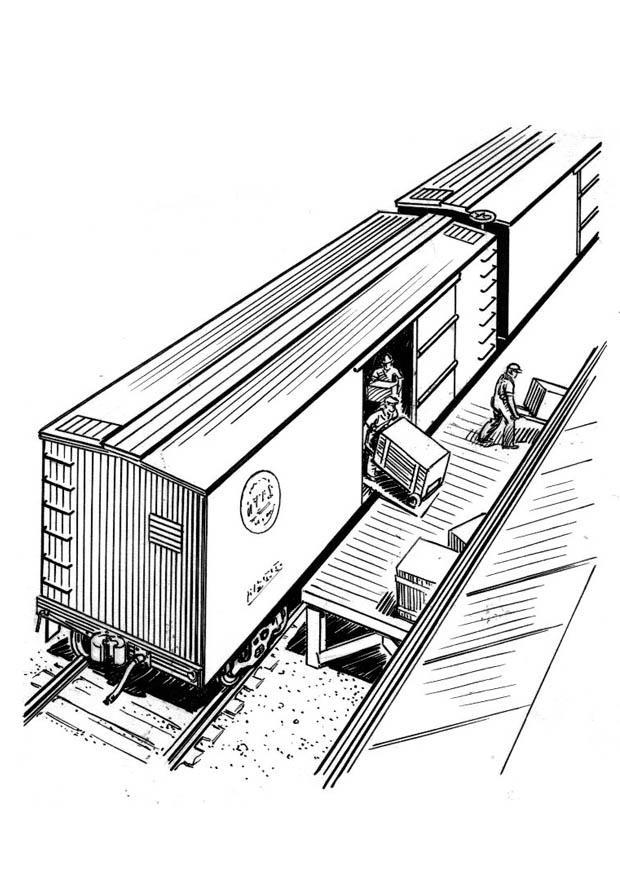 Malvorlage Zug entladen - Kostenlose Ausmalbilder Zum
