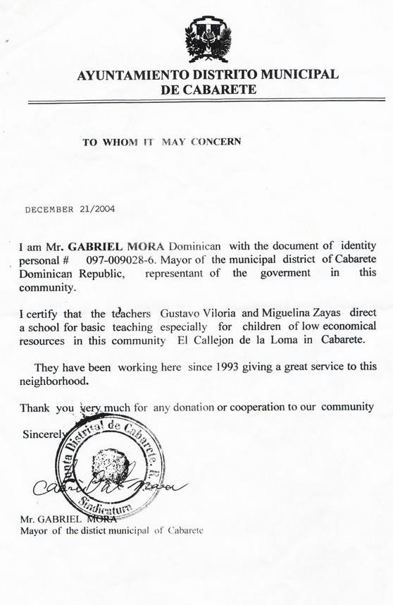 offizielles Zertifikat  zum ausüben des Lehrerberufes von Miguelina Zayas und Gustavo Viloria
