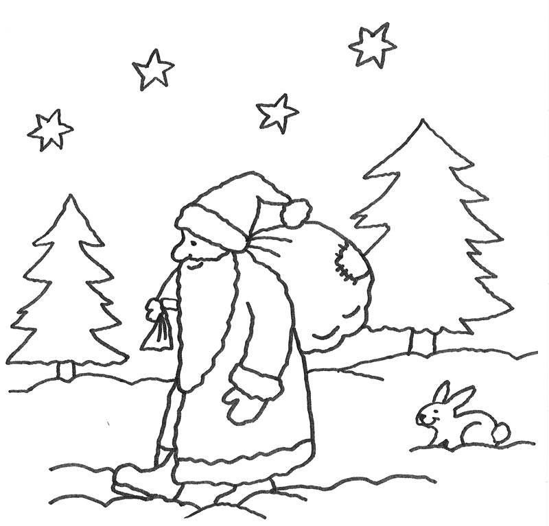 Kostenlose Malvorlage Advent Nikolaus im Wald zum Ausmalen
