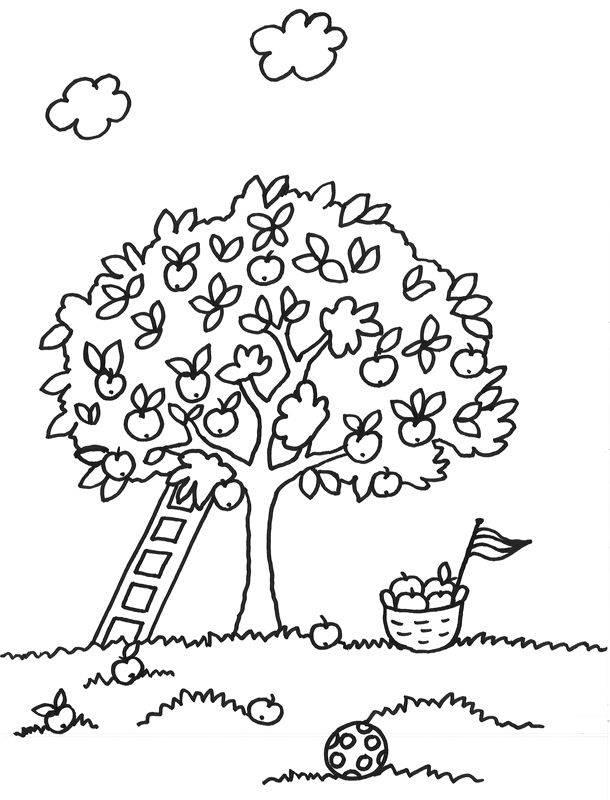 Kostenlose Malvorlage Bäume Baum mit Leiter zum Ausmalen