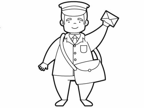 Kostenlose Malvorlage Berufe: Postbote zum Ausmalen