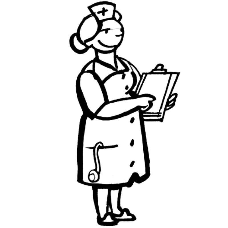Kostenlose Malvorlage Berufe Krankenschwester zum Ausmalen