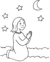 Ausmalbild Szenen aus der Bibel Mädchen beim Nachtgebet ...