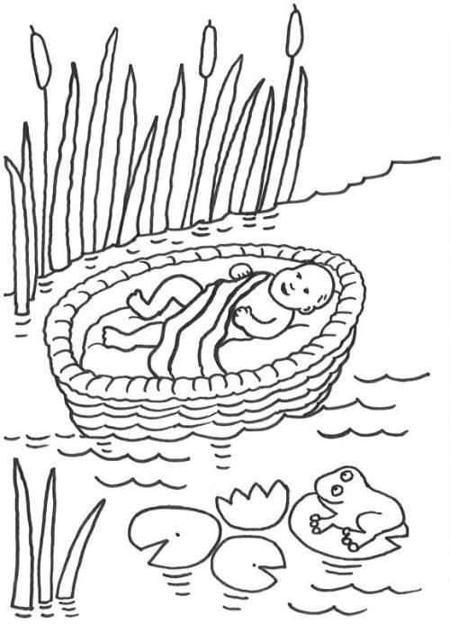 Kostenlose Malvorlage Szenen aus der Bibel: Moses im Korb