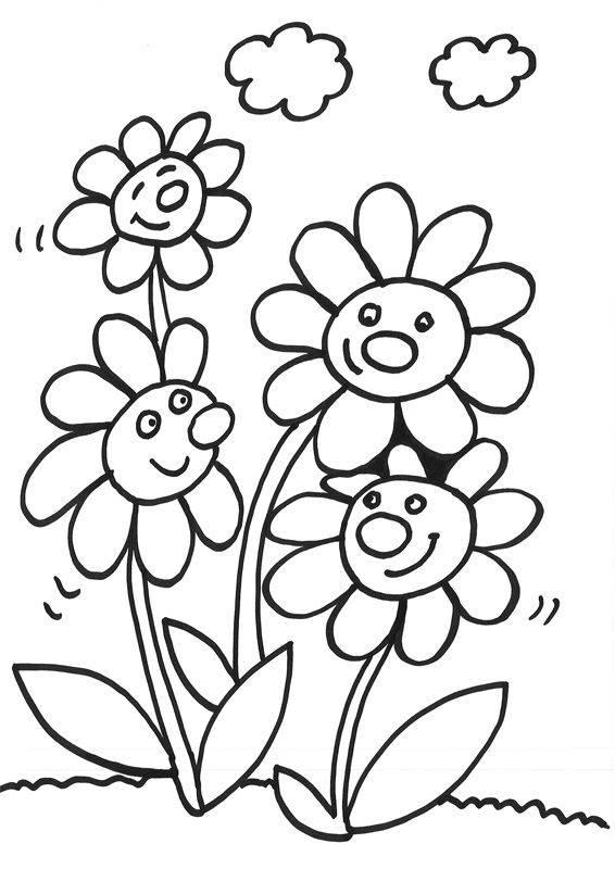 Kostenlose Malvorlage Blumen Vier lachende Blumen zum