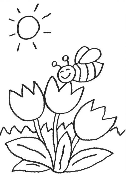 Kostenlose Malvorlage Blumen Biene auf der Blume zum Ausmalen