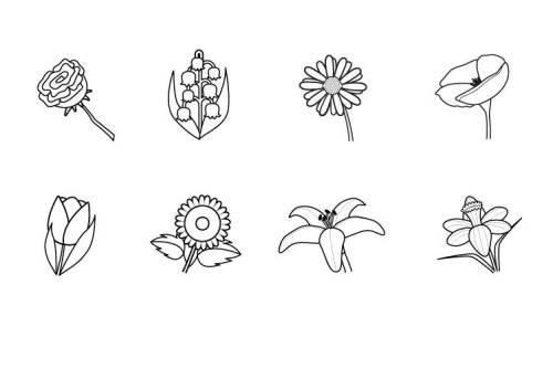 Kostenlose Malvorlage Blumen Verschiedene Blumen ausmalen