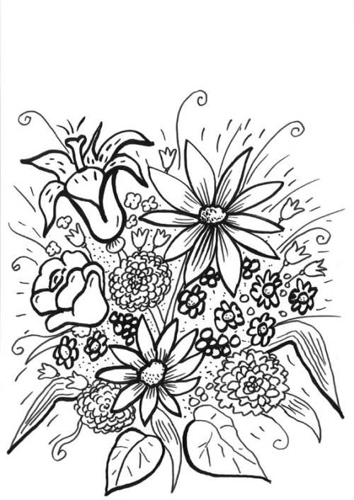 Kostenlose Malvorlage Blumen Riesiger Blumenstrauß zum