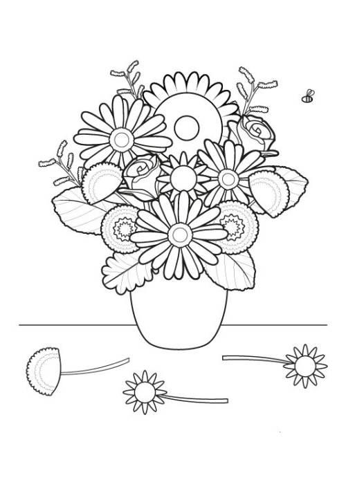 Kostenlose Malvorlage Blumen Blumenstrau ausmalen zum