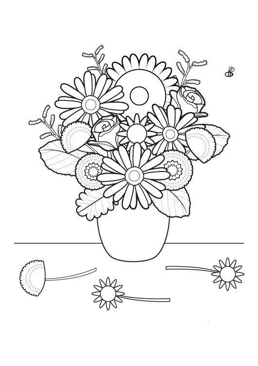 Ausmalbild Blumen Blumenstrauß ausmalen kostenlos ausdrucken