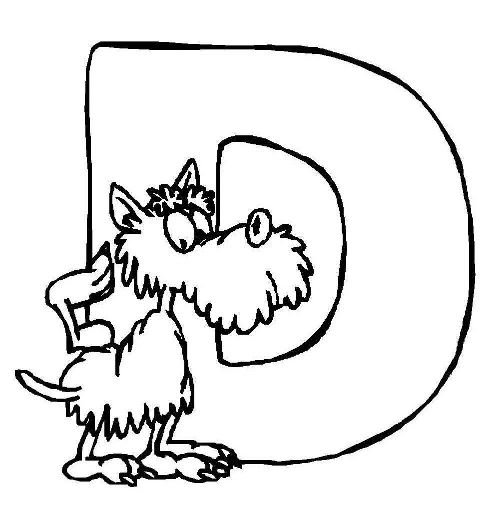 Ausmalbild Buchstaben lernen Tierschrift D kostenlos