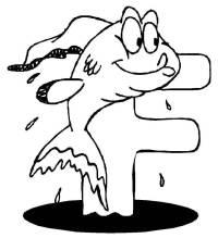 Kostenlose Malvorlage Buchstaben lernen: Tierschrift F zum ...