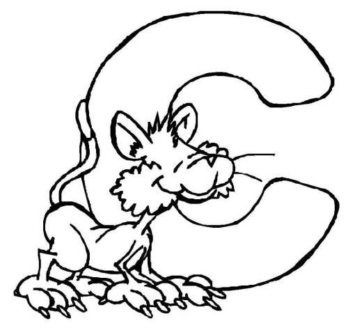Kostenlose Malvorlage Buchstaben lernen Tierschrift C zum