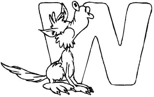 Kostenlose Malvorlage Buchstaben lernen Tierschrift W zum