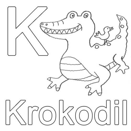 Kostenlose Malvorlage Buchstaben lernen K wie Krokodil