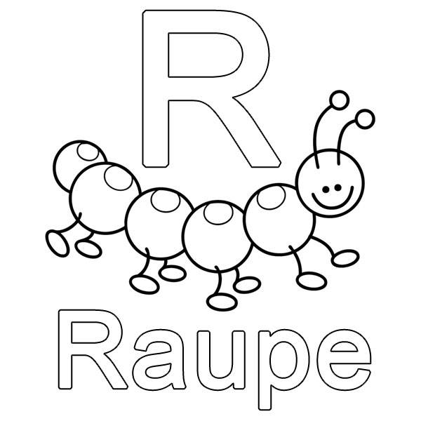 Kostenlose Malvorlage Buchstaben lernen R wie Raupe zum