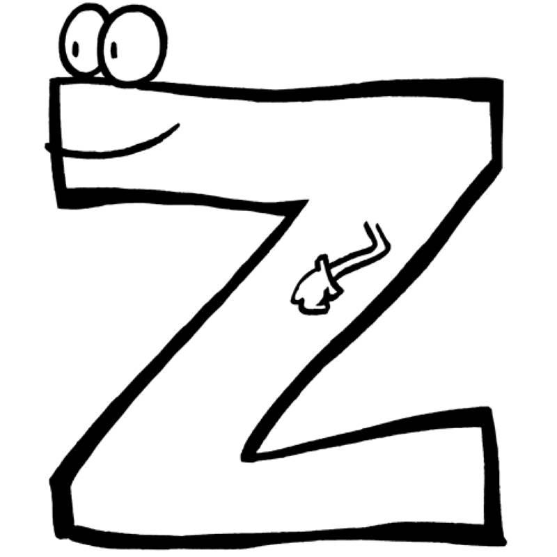 Kostenlose Malvorlage Buchstaben lernen Buchstabe Z zum