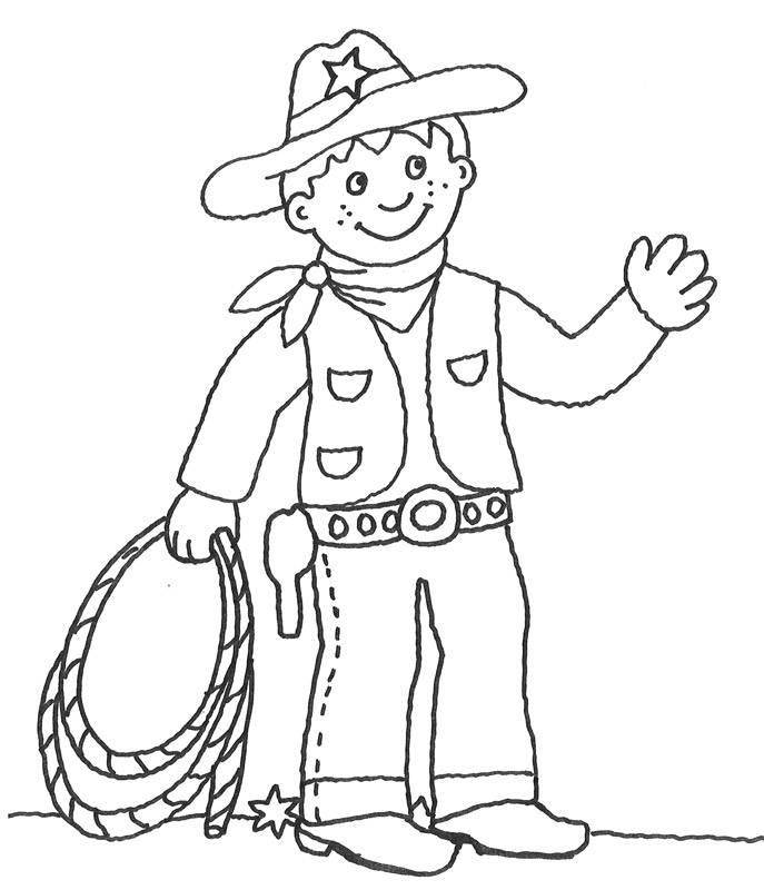 Ausmalbild Cowboys & Indianer Cowboy mit Lasso kostenlos
