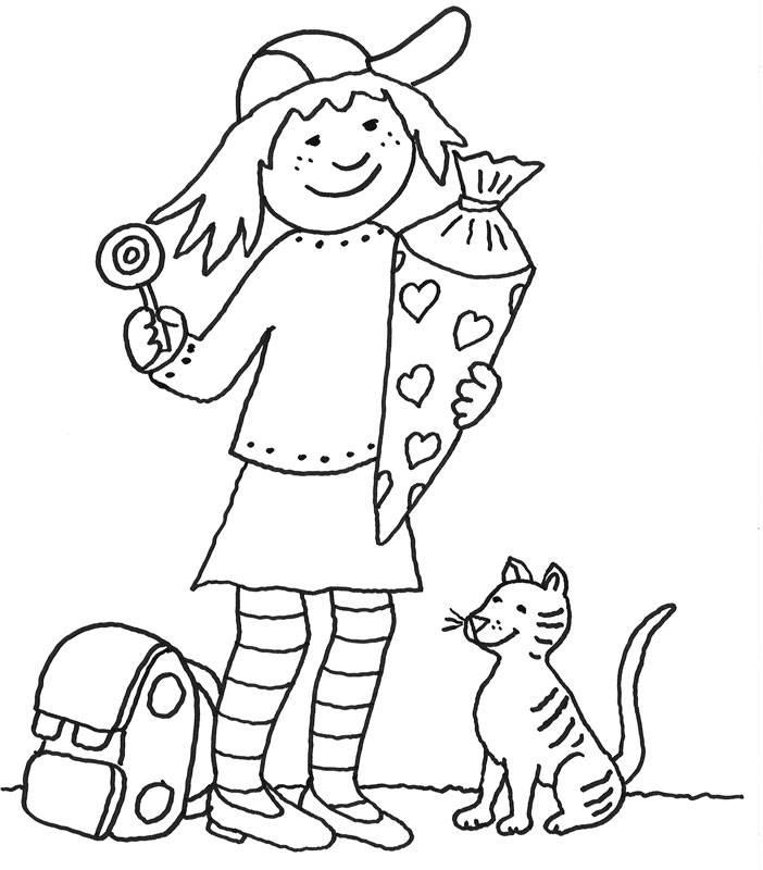 Kostenlose Malvorlage Einschulung Mädchen mit Schultüte
