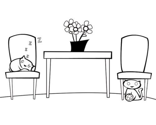 Kostenlose Malvorlage Menschen und ihr Zuhause Katzen im