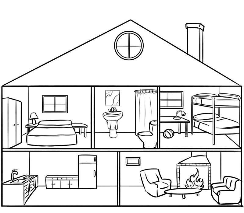 Kostenlose Malvorlage Menschen und ihr Zuhause Puppenhaus