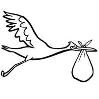 Kostenlose Malvorlage Vögel Storch mit Baby zum Ausmalen