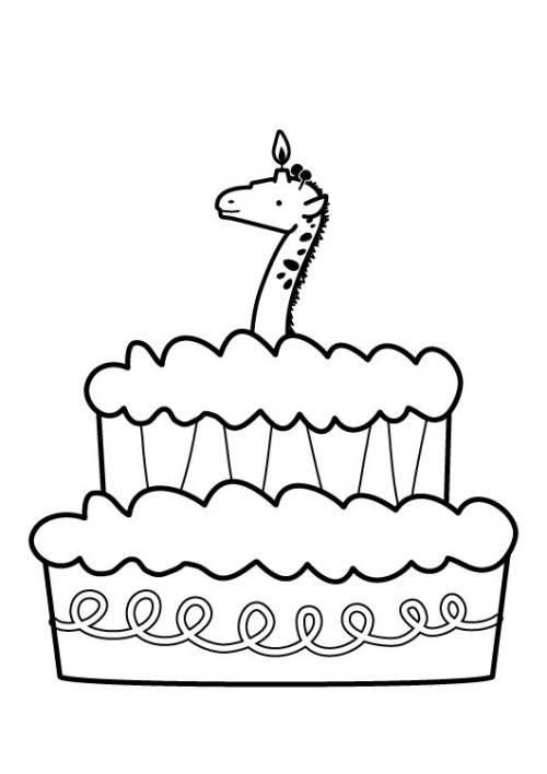 Kostenlose Malvorlage Geburtstag Kuchen zum siebten