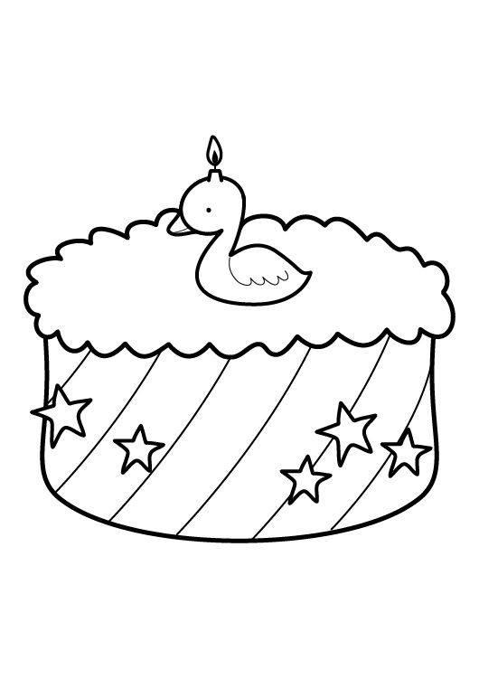 Ausmalbild Geburtstag Kuchen zum zweiten Geburtstag