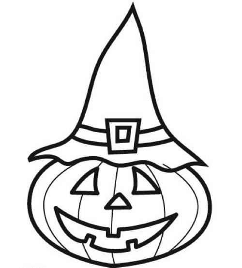 Kostenlose Malvorlage Halloween Hexen-Kürbis zum Ausmalen